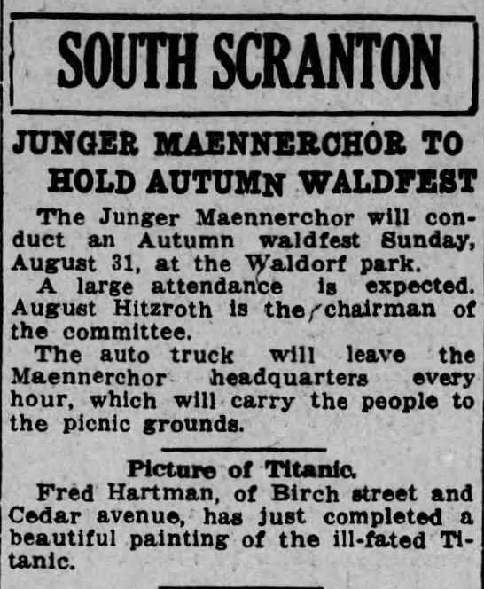 Fred Hartman -Painting - SOUTH SCRANTON JUNGER MAENNERCH0R TO HOLD...