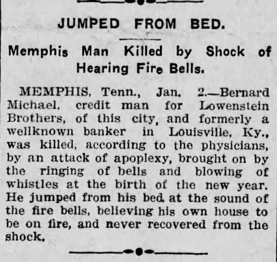 Lowenstein Bros, creditor dies - JUMPED FROM BED. Memphis Man Killed by Shock...