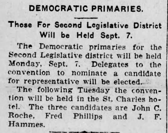 Democratic Primary for J.F. Hammes for Second Legislative district. - DEMOCRATIC PRIMARIES. Those For Second...