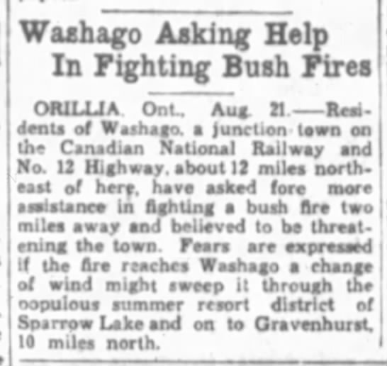Sparrow Lake News - Washago .Asking Help In Fighting Bush Fires...