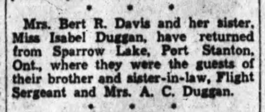 "Sparrow Lake News - e . . 't,"" Mr. Bert R. Davis and bar slater...."
