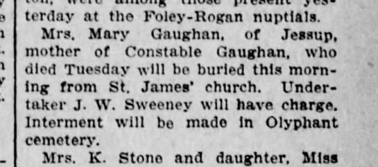 Mary Munnelly Gaughan 1907 - yesterday at the Foley - Rogan nuptials. Mrs....