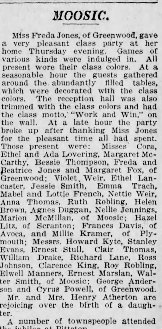 June 17 1907 class party - Roy, Ruth Robling - MGOSIC. Miss Freda Jones, of Greenwood, gave a...