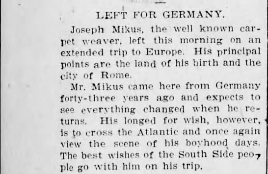 Joseph Mikus leaves - ; 1 LEFT FOR GERMANY. Joseph Mikus, the well...