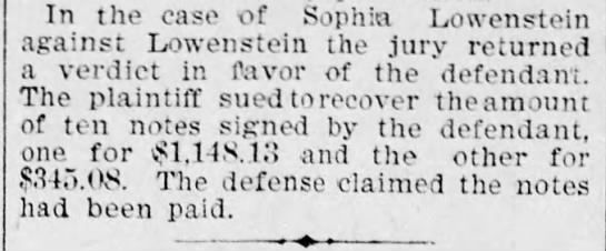 Lowenstein in courts - In the case of Sophia Lowenstein against...