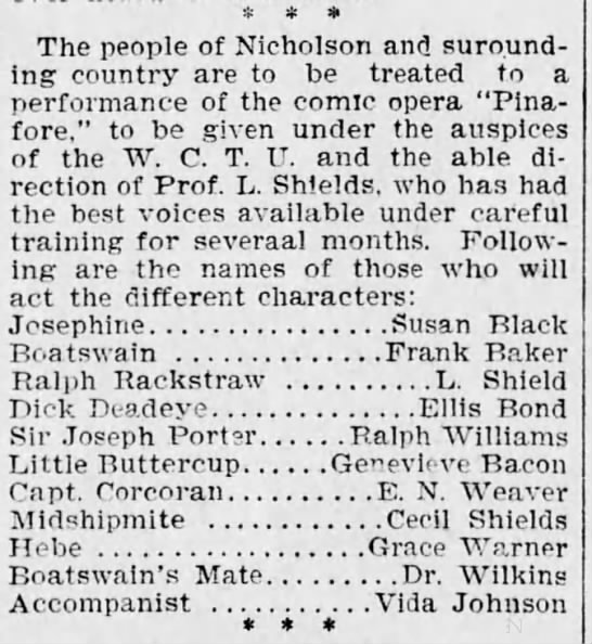"""""""Dr. Wilkins"""" in a play. - The people of Nicholson and suround - ing..."""