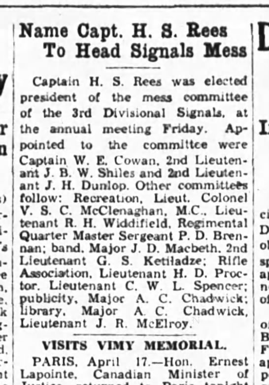 Ottawa Journal 18 April 1936 - Name Capt. H. 8. Eees To Head Signals Mess...