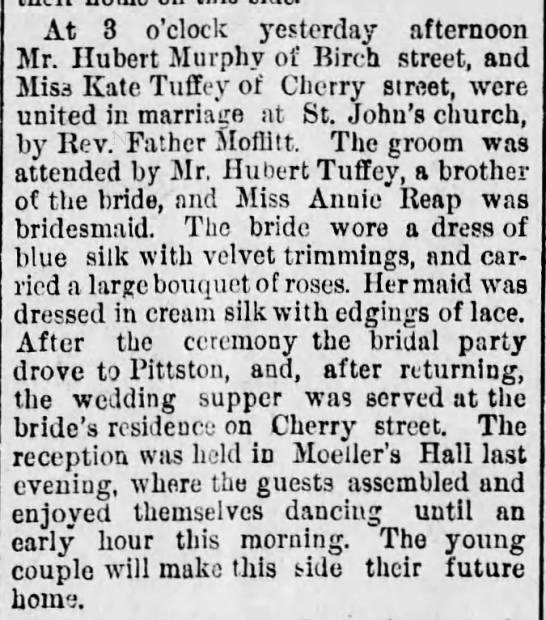 Hubert Murphy weds Kate Tuffey - At 8 o'clock yesterday afternoon Mr. Hubert...