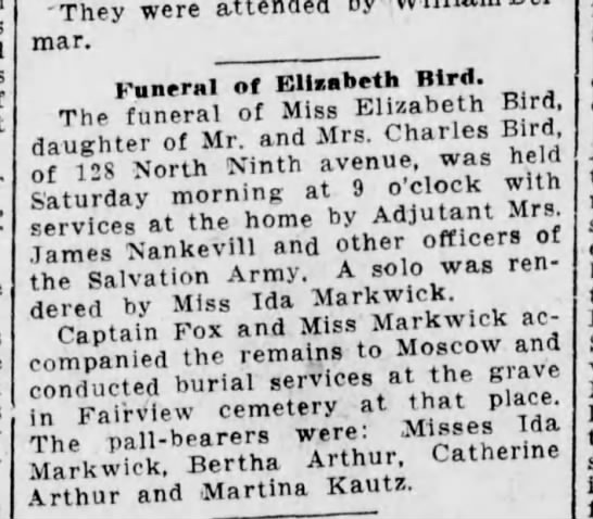 Eliz bird - mar. Funeral of Elisabeth Bird. The funeral of...