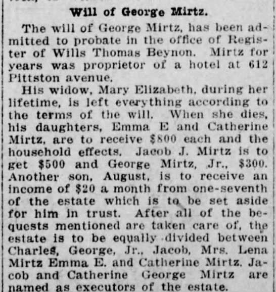 George Mirtz Will - Will of George Mirtz. The will of George Mirtz,...