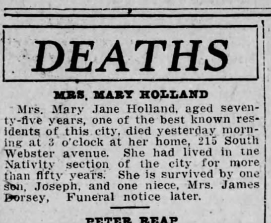 Mrs. Mary Holland Death Feb 11 1916