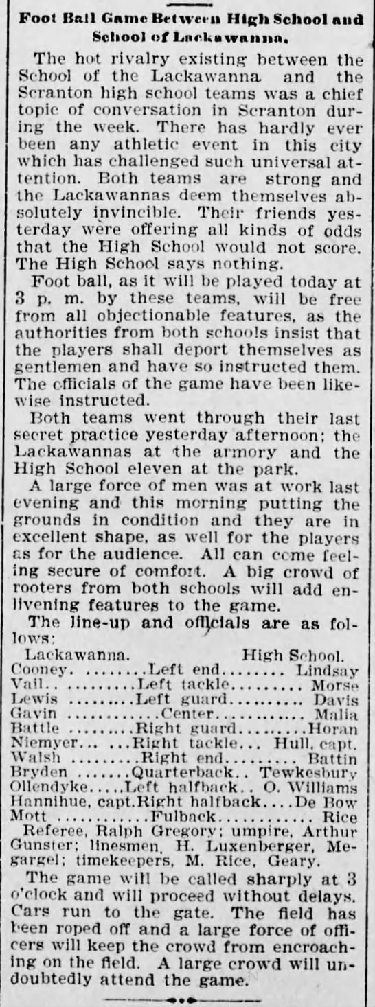 1897 Football Game School of Lackawanna and Scranton High Schools - Foot Ball Game Brlweru High School and School...