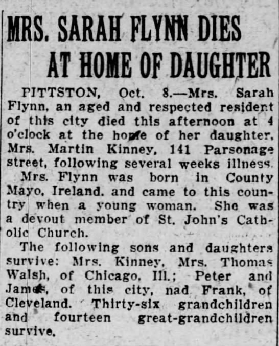 Obituary: Sarah (Monnelly) Flynn - PS. SARAH FLYHM DIES j AT HOME OF DAUGHTER...