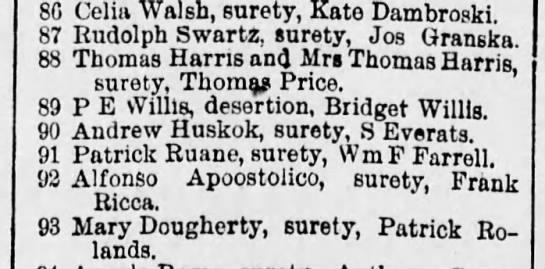 p e willis desertion of bridget willis 28 nov 1893 - 86 Celia Walsh, surety, Kate Dambroski. 87...