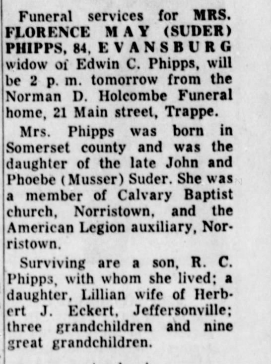 - Funeral services for MRS. FLORENCE MAY (SUDF.R)...