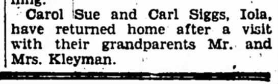 Carol & Carl Sigg - Carol ISue and Carl Siggs, lola, have returned...