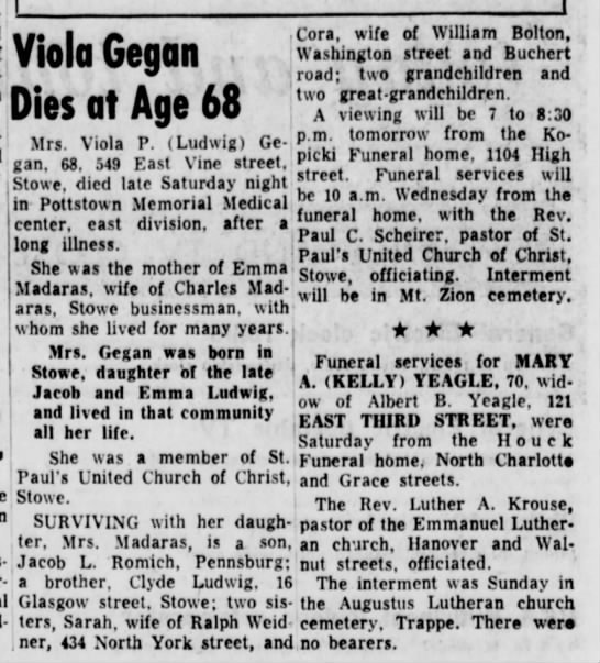 Ludwig, Viola Gegan obit - Viola Gegan Dies at Age 68 Cora, wife of...