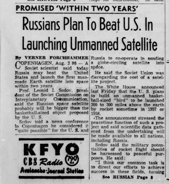 Soviets announce satellite - PROMISED 'WITHIN TWO YEARS' Russians Plan To...