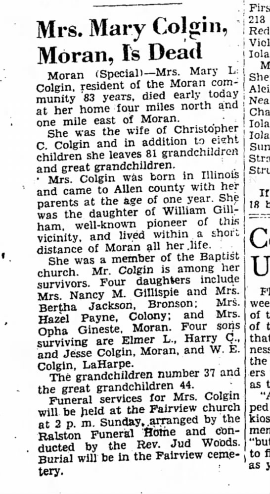 Mary L Gillham Colgin Obituary - The Iola Register 25 Jan 1952 page 1