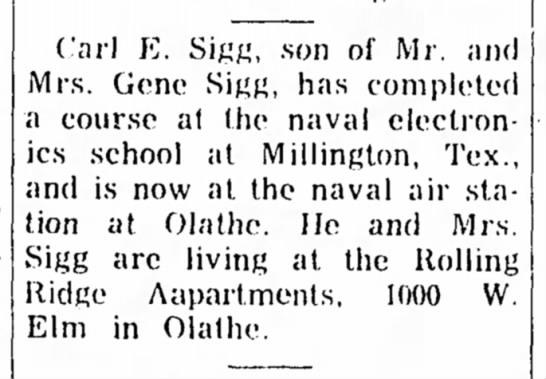 Carl E Sigg - Carl E. Sigg, son of Mr. and Mrs. Gene Sigg,...