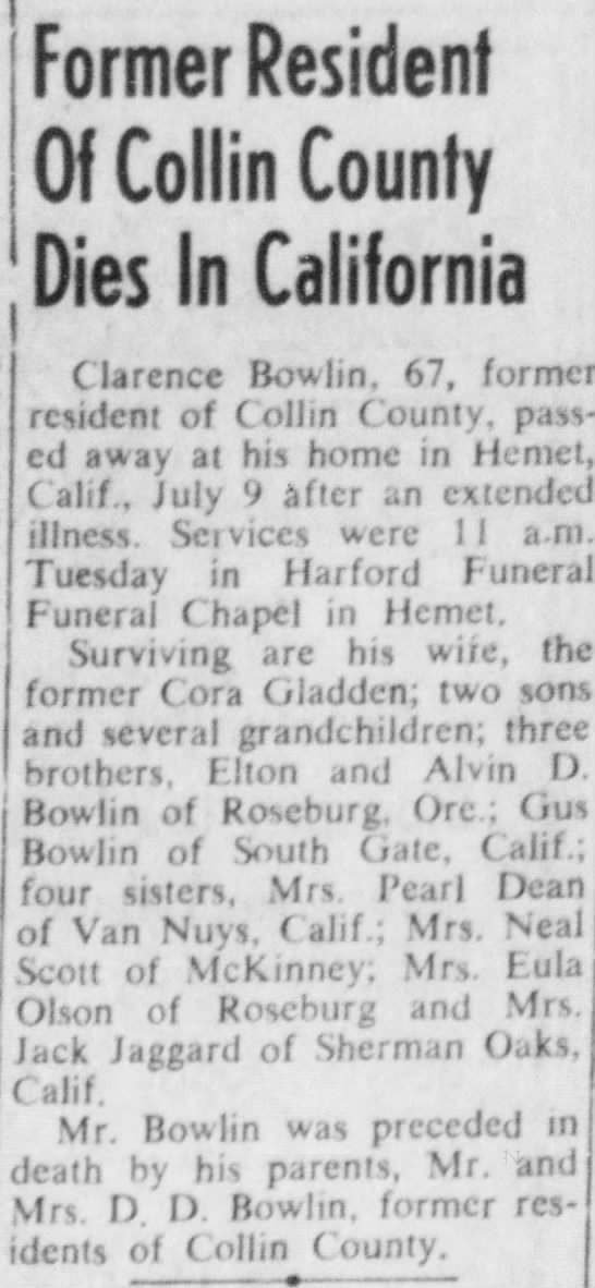 Clarence Bowlin - Former Resident Of Collin County Dies In...