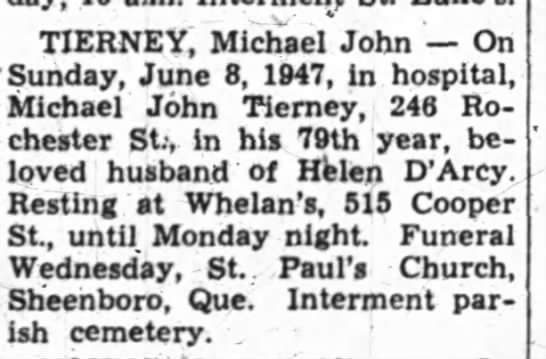 - TIERNEY, Michael John On Sunday, June 8, 1947,...