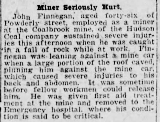John Finnegan Seriously Hurt 4-1-1919 - ( Miner Seriously Hurt. John Finnegan,' aged...