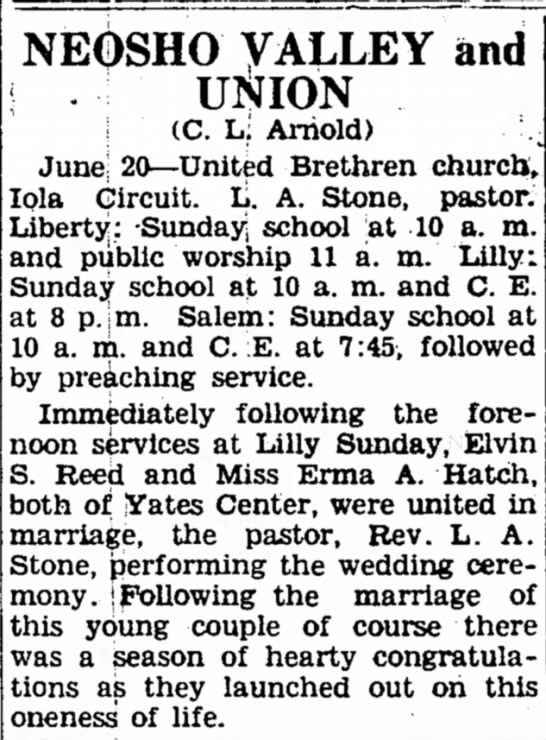 Elvin and Irma Wedding - June 6th, 1935 - NEOSHO VALLEY and UliJION . (C. L; Arnold)...