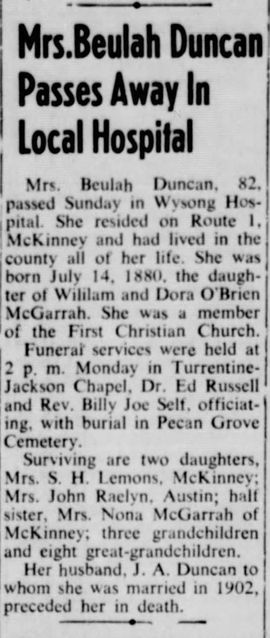 Beulah McGarrah Duncan - * _ Mrs.Beulah Duncan I Passes Away In Local...