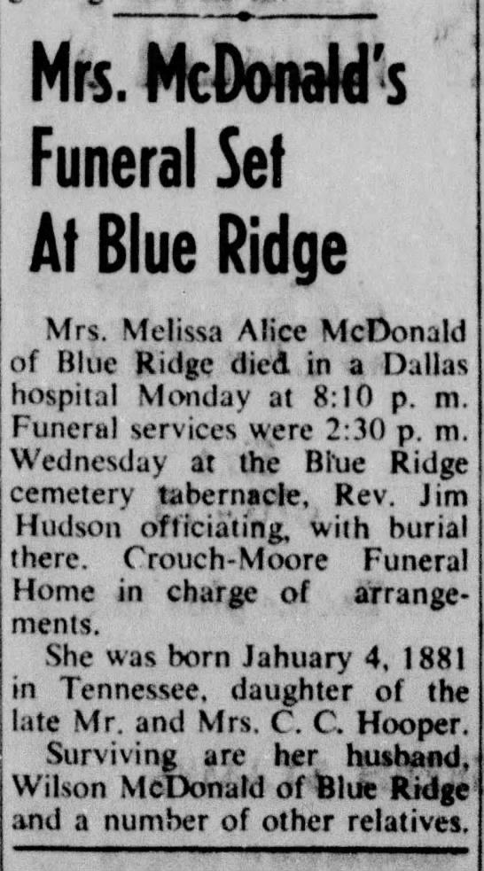 Alice Hooper McDonald Obituary - Mrs. McDonald's Funeral Set At Blue Ridge Mrs....