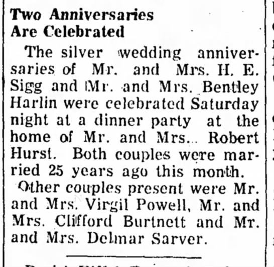 Mr & Mrs Harry Eugene Sigg - Silver Anniversary