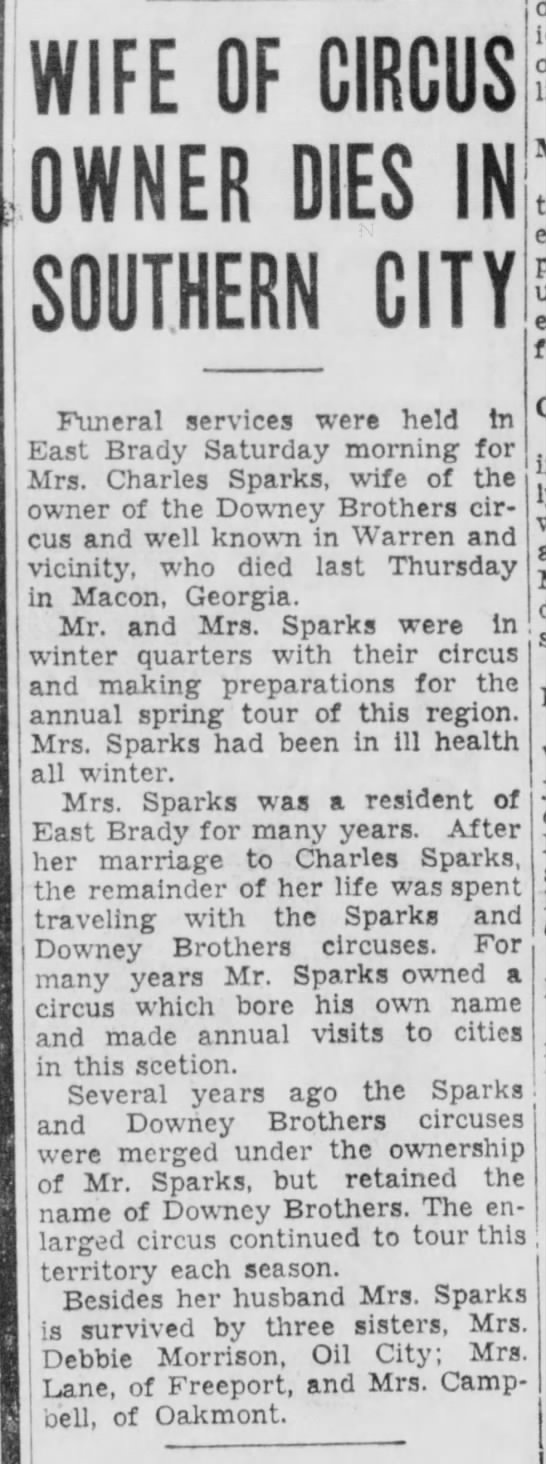 Sparks Mrs Obit 3-6-1939 - WIFE OF CIRCUS OWNER DIES IN SOUTHERN CITY...