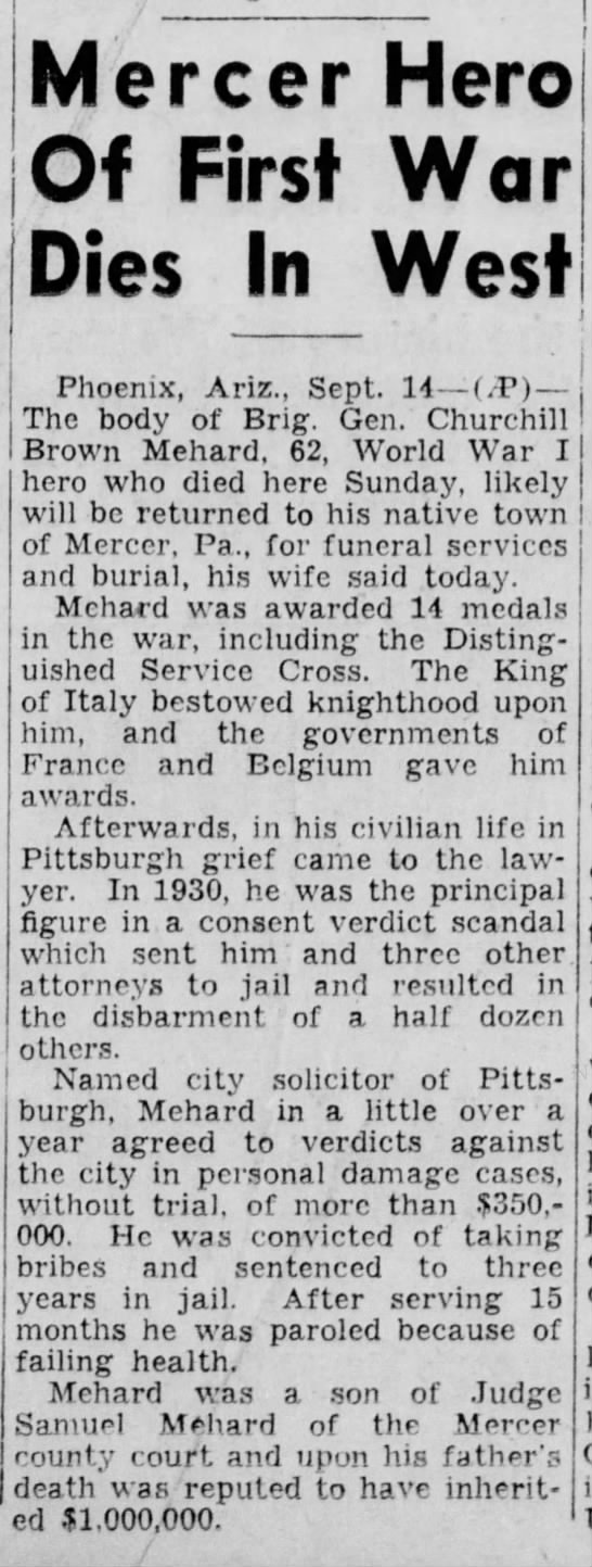 Death of Churchill B. Mehard - Warren Times Mirror of Warren, PA - Sept. 14, 1943 - ------------------------; single Mercer Hero Of...