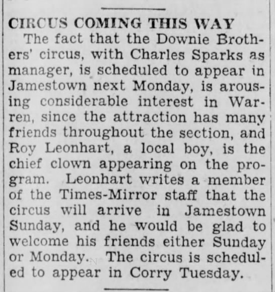 Sparks Downie 8-12-1932 - CIRCUS COMING THIS WAY The fact that the Downie...