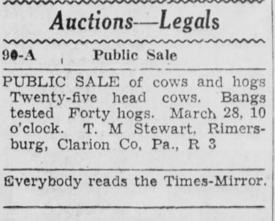 cow sale T.M. Stewart - 9#-A Auctions — Legals Public Sale PUBLIC SALE...