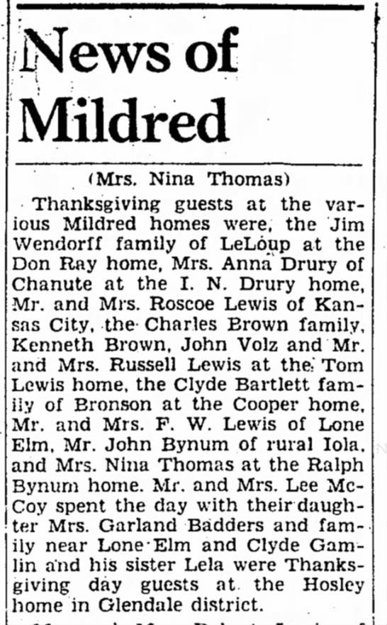 John Volz Sr joins friends for Thanksgiving. - News of Mildred (Mrs. Nina Thomas) Thanksgiving...
