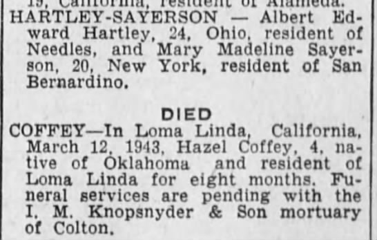 Two notes - Sayerson wedding and Coffey death - HARTLEY-SAYERSON HARTLEY-SAYERSON...