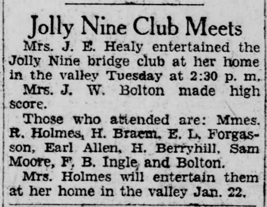 1929-01-16-06 H. Braem - Jolly Nine Club Meets Mrs. J. E. Healy...