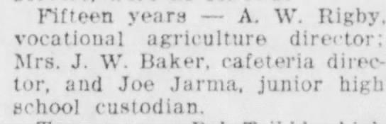 Joe/ Dayton /1957 - Fifteen years — A. W. Rigby, vocational...