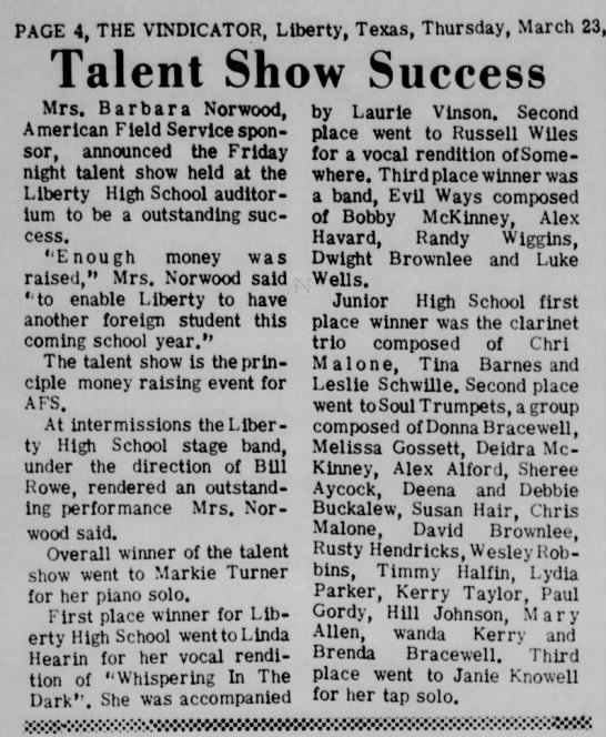 Talent show Success - PAGE 4, THE VINDICATOR, Liberty, Texas,...