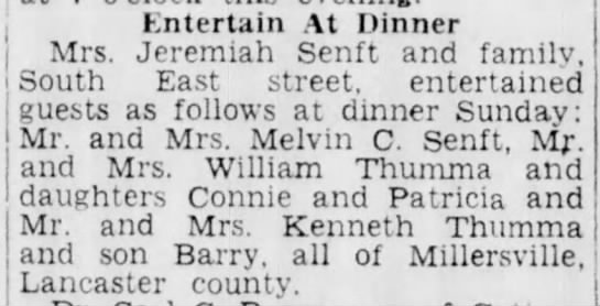 Dinner at Senfts - Entertain At Dinner j Mrs. Jeremiah Senft and...