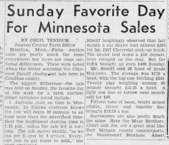 Part 1 - Sunday Favorite Day For Minnesota Sales BY...