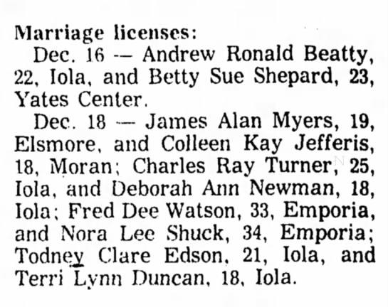 Terri Lynn Duncan - marriage licenses