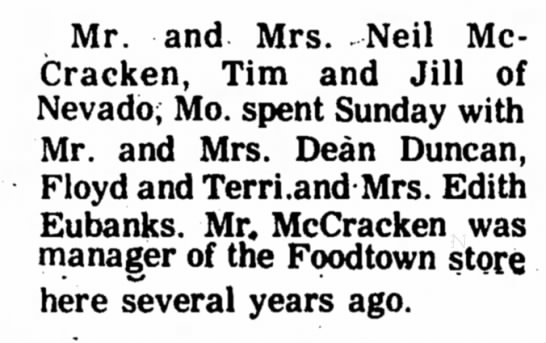 Dean Duncan - Mr. and Mrs. Neil McCracken, McCracken, Tim and...