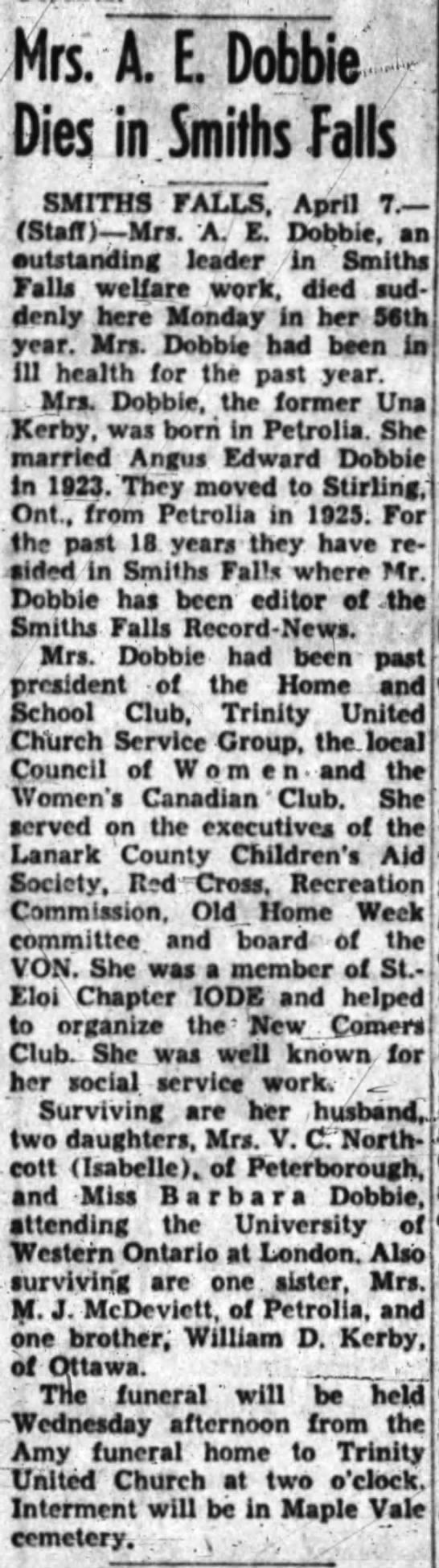 Mrs. Dobbie nee Kerby of Petrolia Dies - Mrs. A. E. Dobbfe' Dies in Smiths Palls SMITHS...