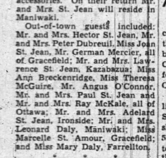 "Paul and Muriel St.Jean Wedding aug 10 1949 - - and Mrs. St Jean will reside In ManiwakL . ""..."