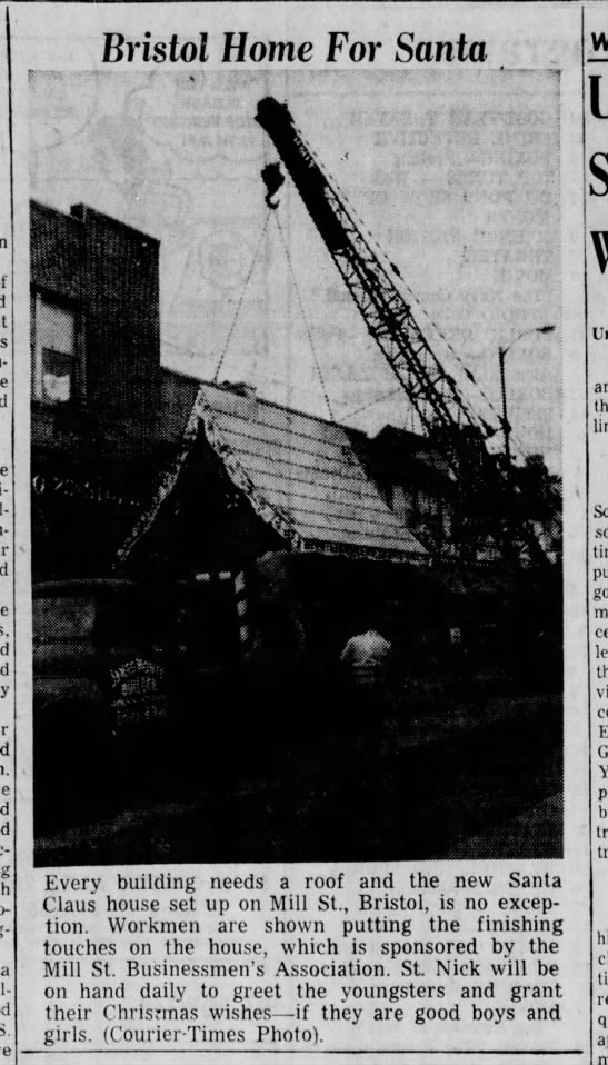 Santa House Mill Street 11.25.1957 Bristol Daily Courier picture - Bristol Home For Santa a S. Every building...