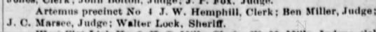 Walter Lock Sheriff of Artemus  17 Mar 1911 - Artemtis precinct No J. V. Heiuphlll, Clerk;...