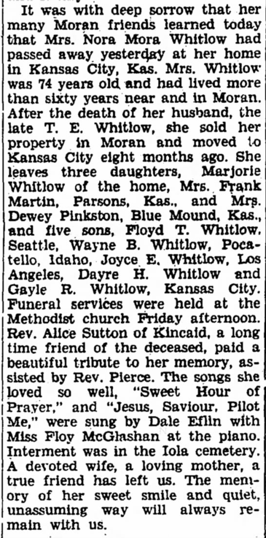 Nora Moss Whitlow Obituary - The Iola Register 9 Sept 1944 Page 2 - It was with deep sorrow that her many Moran...