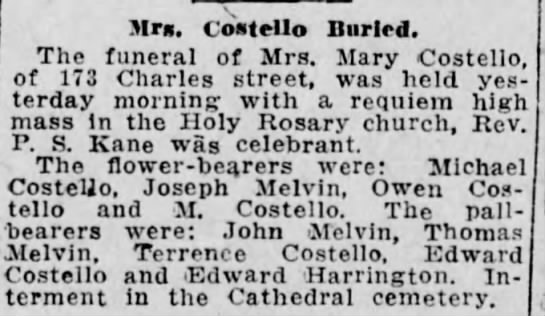 3-5-1915 mary costello obit - Mrs. CoMello Burled. The funeral of Mrs. Mary...